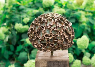 Hortensia bronze with green patinated accents