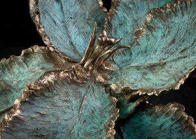 Parrot tulip bronze with blue patinated accents